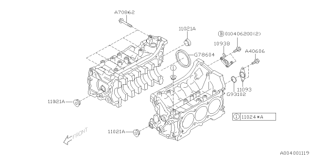 2002 Subaru Outback Cylinder Block Subaru Parts Deal