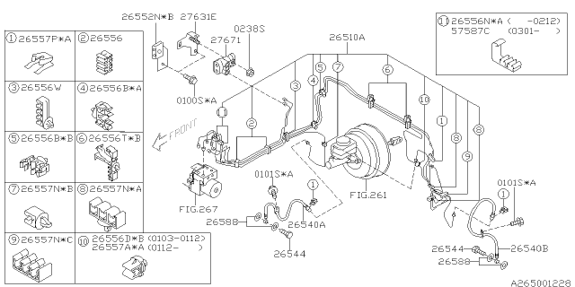 26514fe020 - genuine subaru brake pipe assy front  subaru parts deal